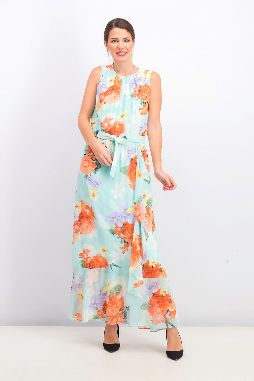 Women's Pleated Floral Print Maxi Dress, Turquoise
