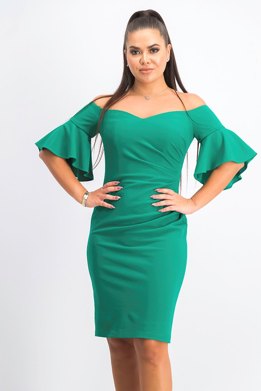 Women's Off-The-Shoulder Mini Shift Dress, Green