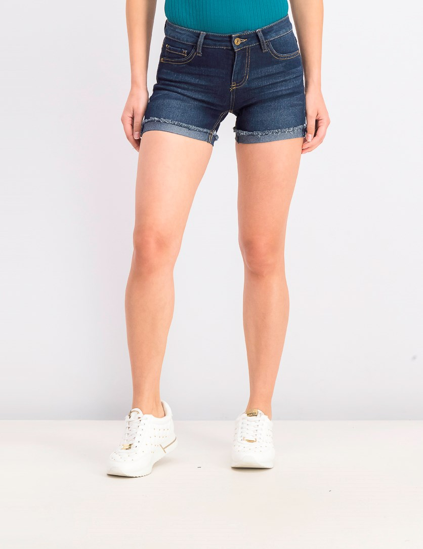 Women's Juniors' Mid-Rise Cuffed Jean Shorts, Dark Wash