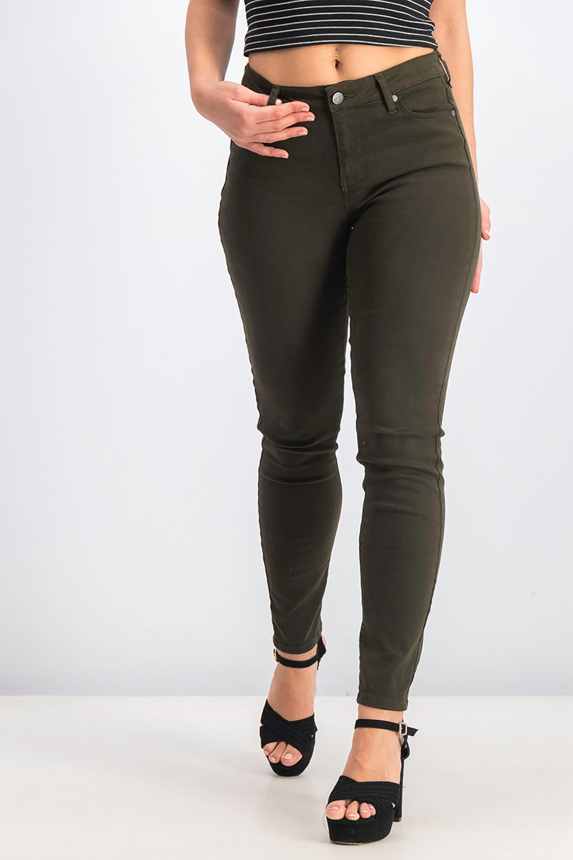 Women's Skinny Pants, Olive Green