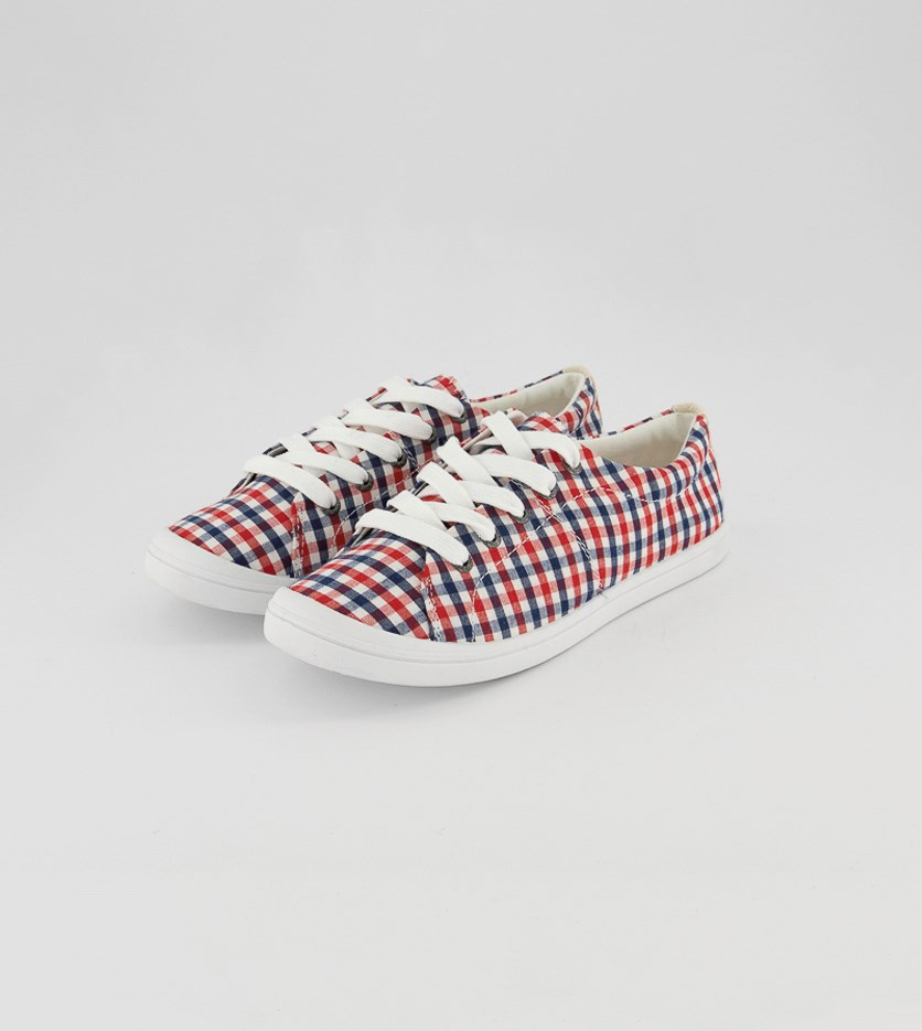 Women's Bass Kimmy Casual Shoes, Red Plaid