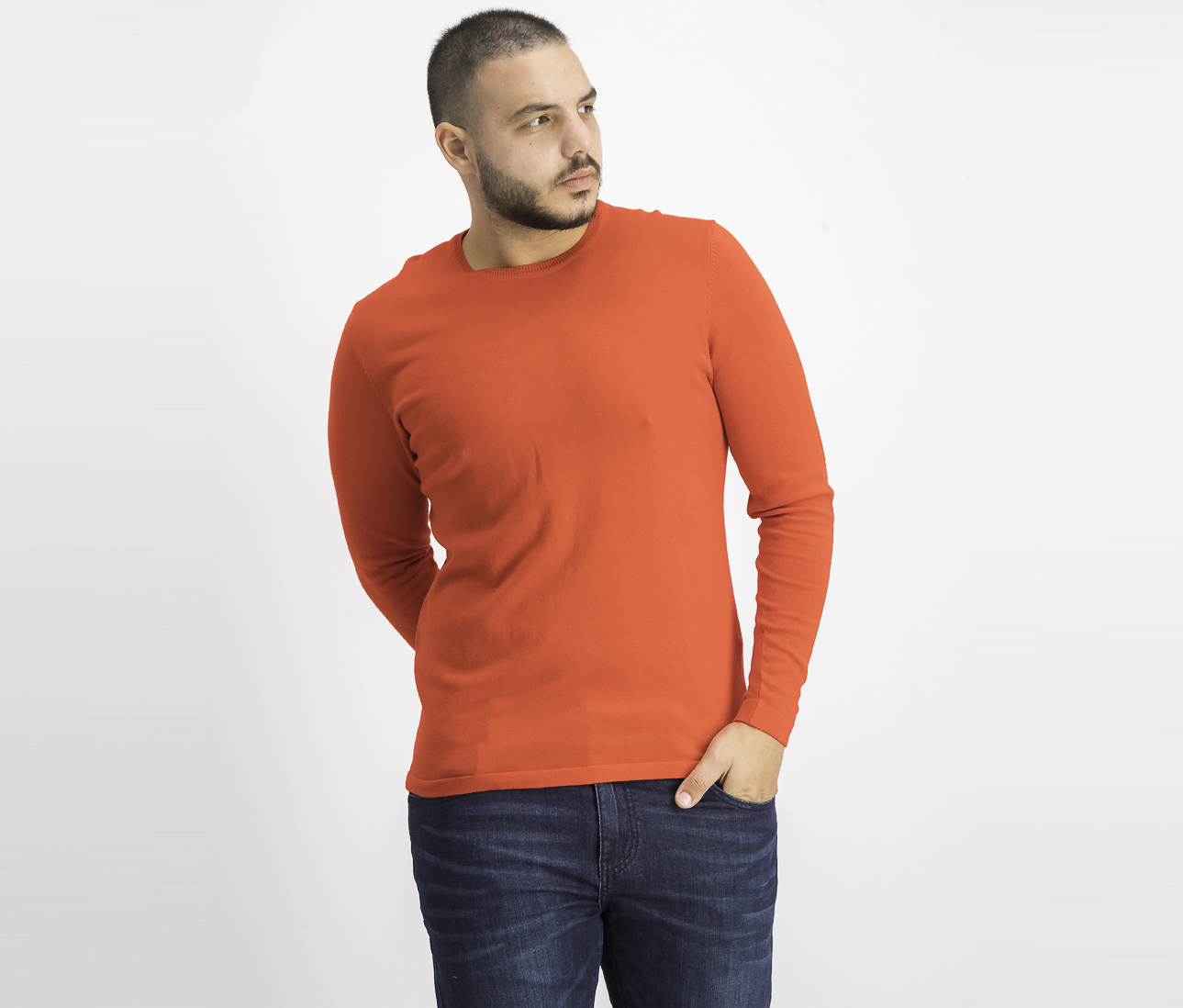 Men's Plain Long Sleeve T-Shirt, Red