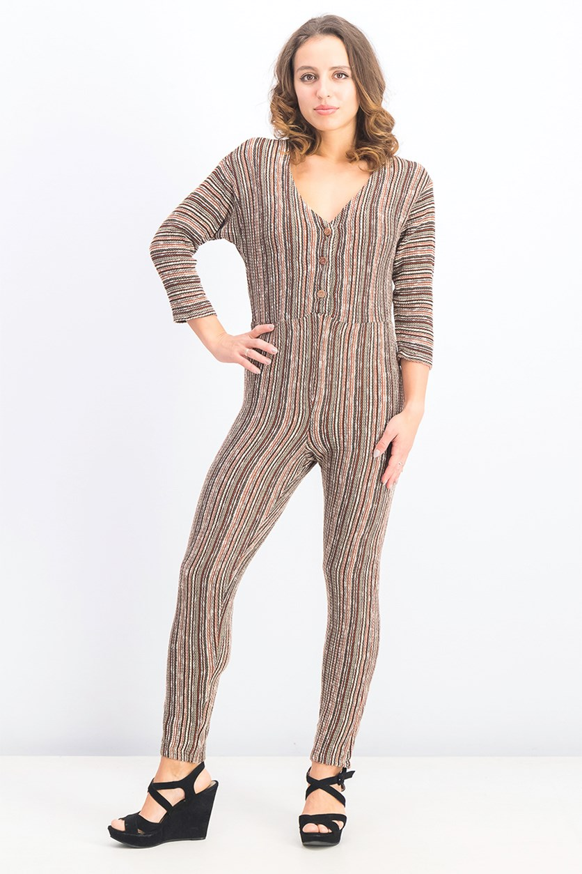Womens Knitted Stripe Jumpsuit, Olive/Brown Combo