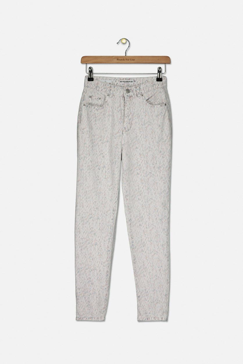 Women's Five Pocket Textured Pants, Off White Combo