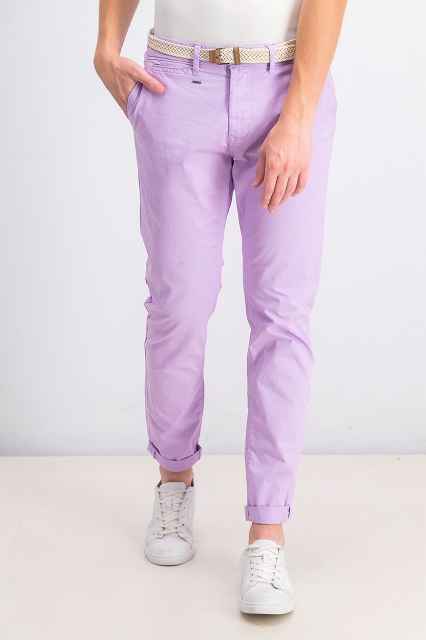 Men's Slim Stretch Belted Pants, Lilac
