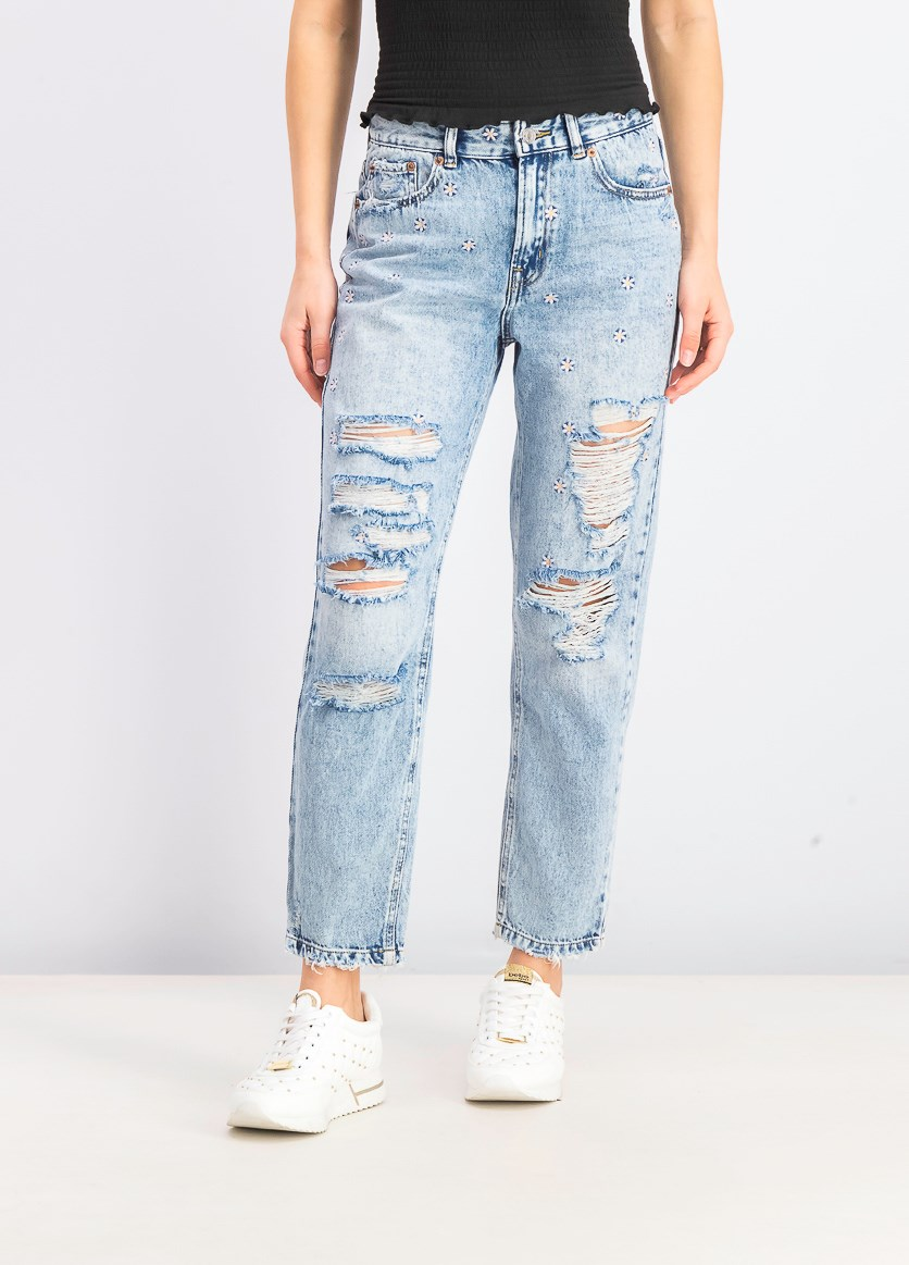 Women's Mom Embroidered Ripped Jeans, Blue Wash