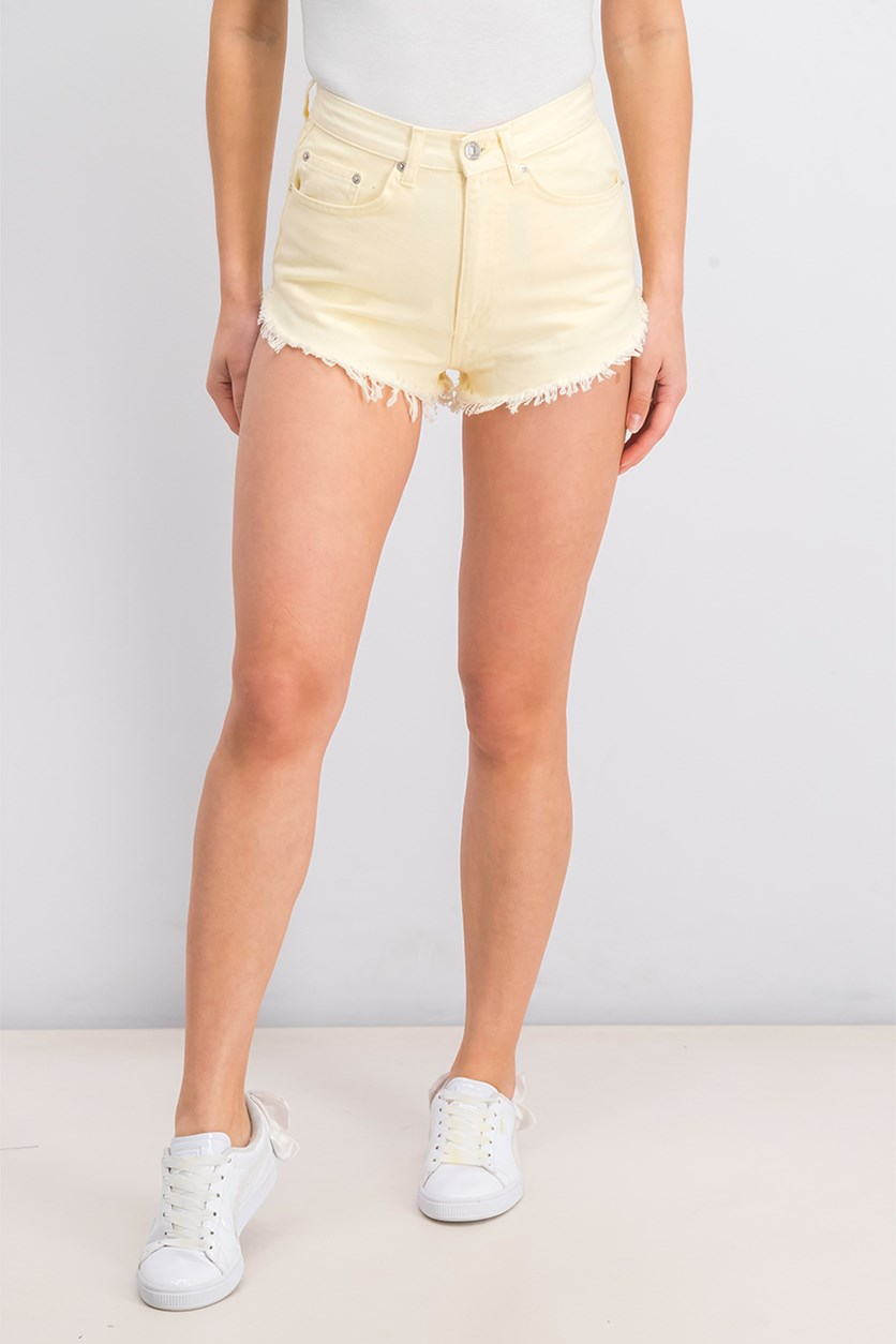 Women's Low Cut Sides Denim Shorts, Light Yellow