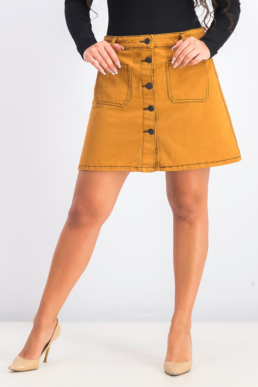 Women's Denim Skirt With Pockets, Brown