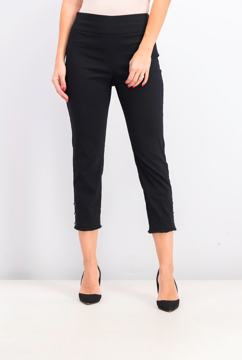 Women's Pull-On Studded Fringed-Cuff Pants, Black