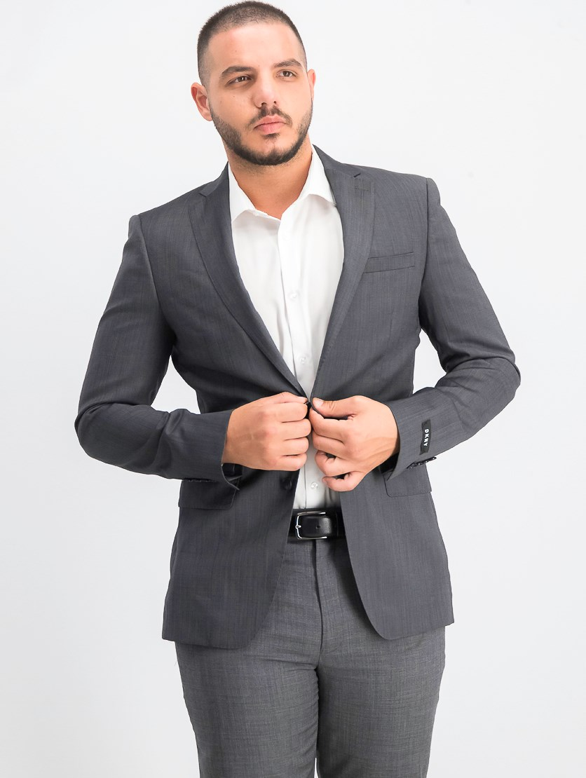 Men's Slim-Fit Stretch Textured Suit Jacket, Charcoal