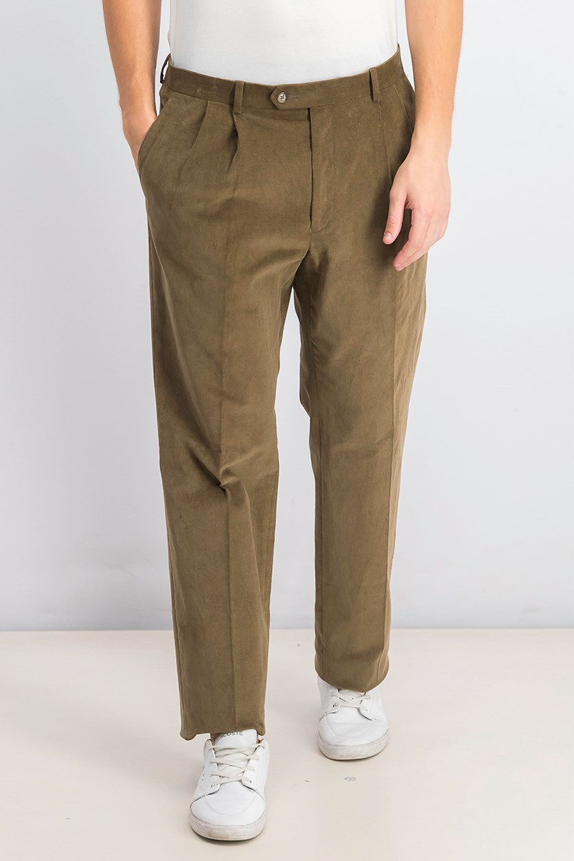 Men's Classic/Regular Fit Corduroy Double Reverse Pleated Dress Pants, Camel