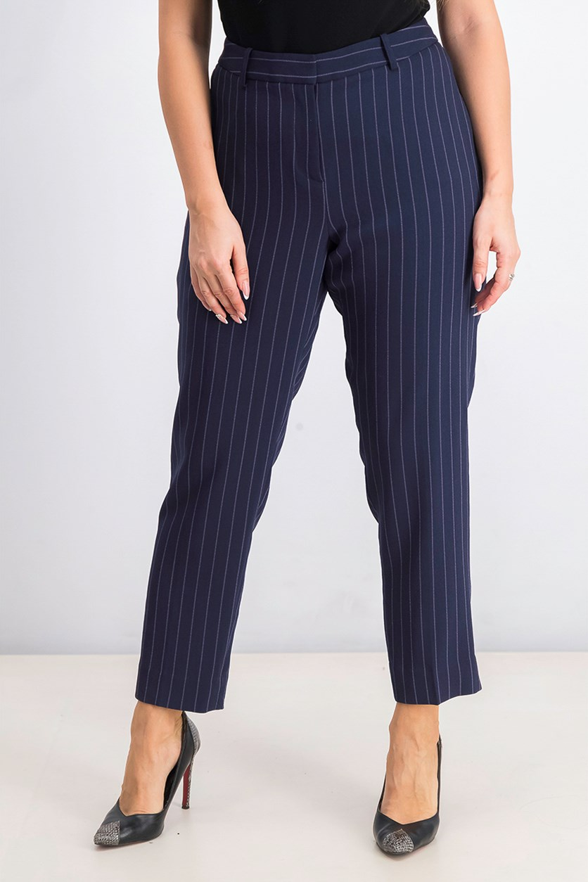 Women's Striped Ankle Pants, Navy