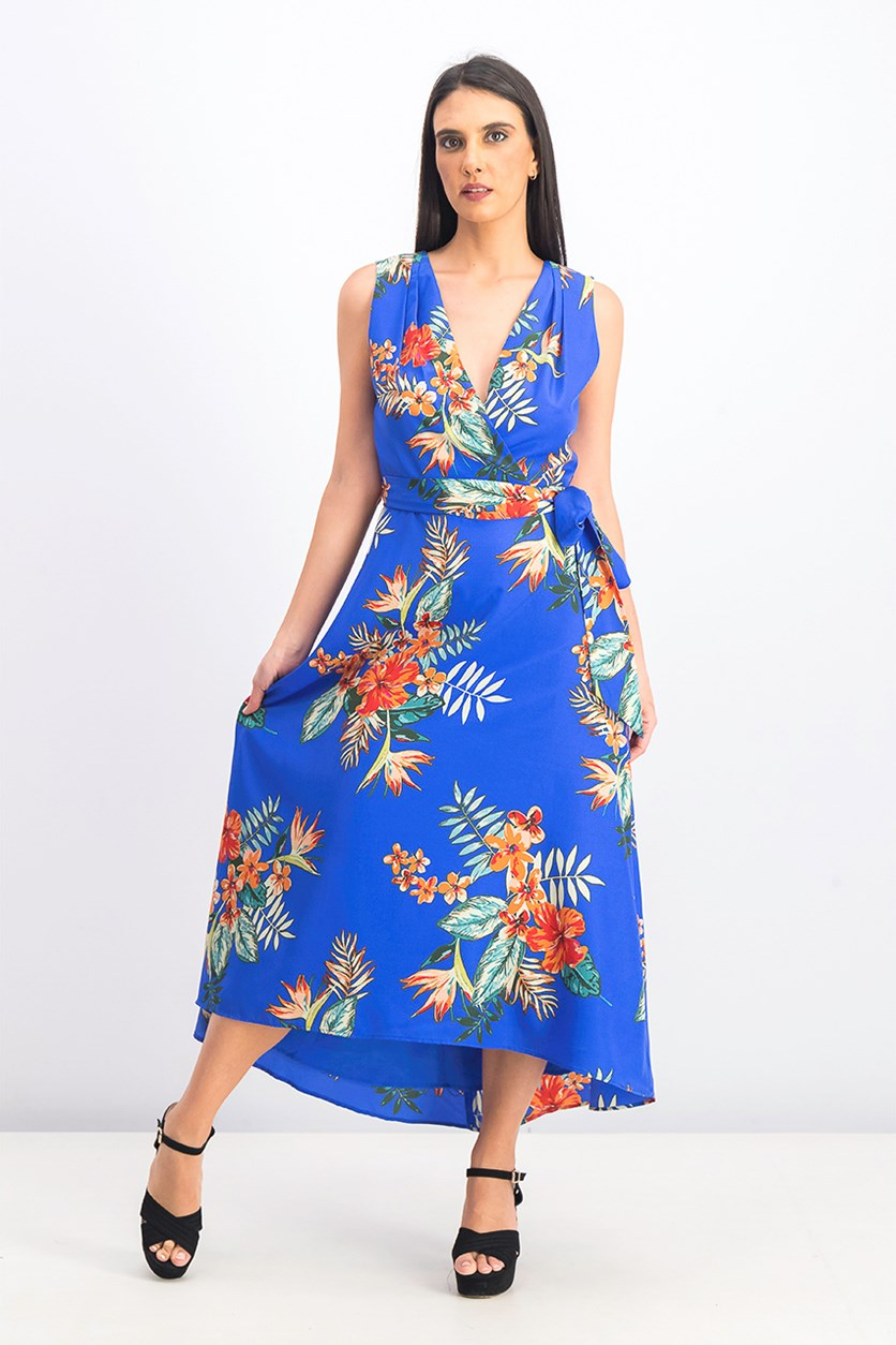 Women's Sleeveless Midi Dress, Blue Combo
