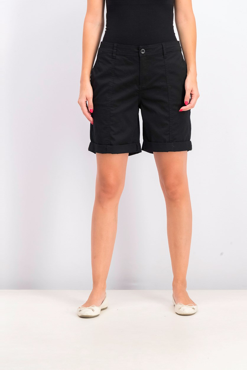 Women's Cuffed Seam-Detailed Shorts, Deep Black