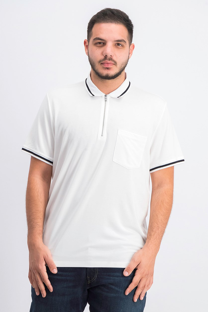 Men's Quarter-Zip Polo, White Pure