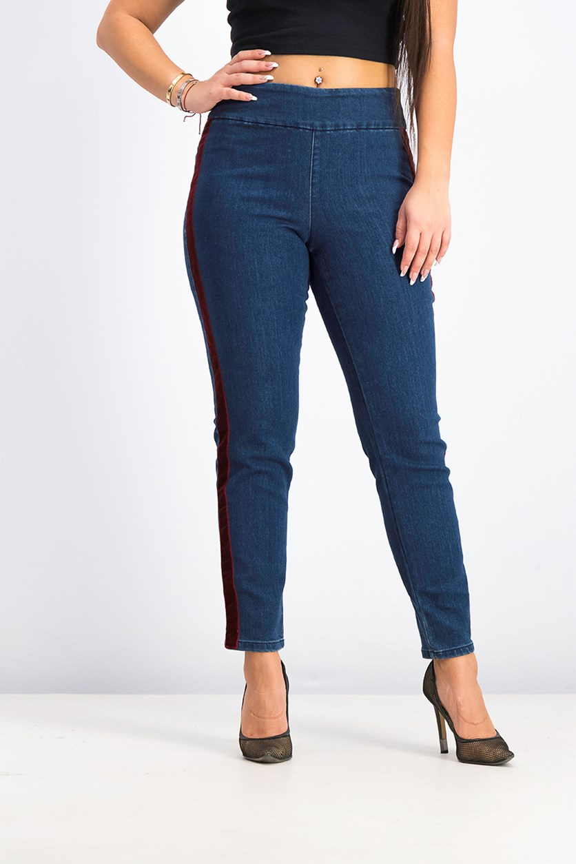 Women's Denim Velvet Stripe Skinny Jeans, Essex Wash