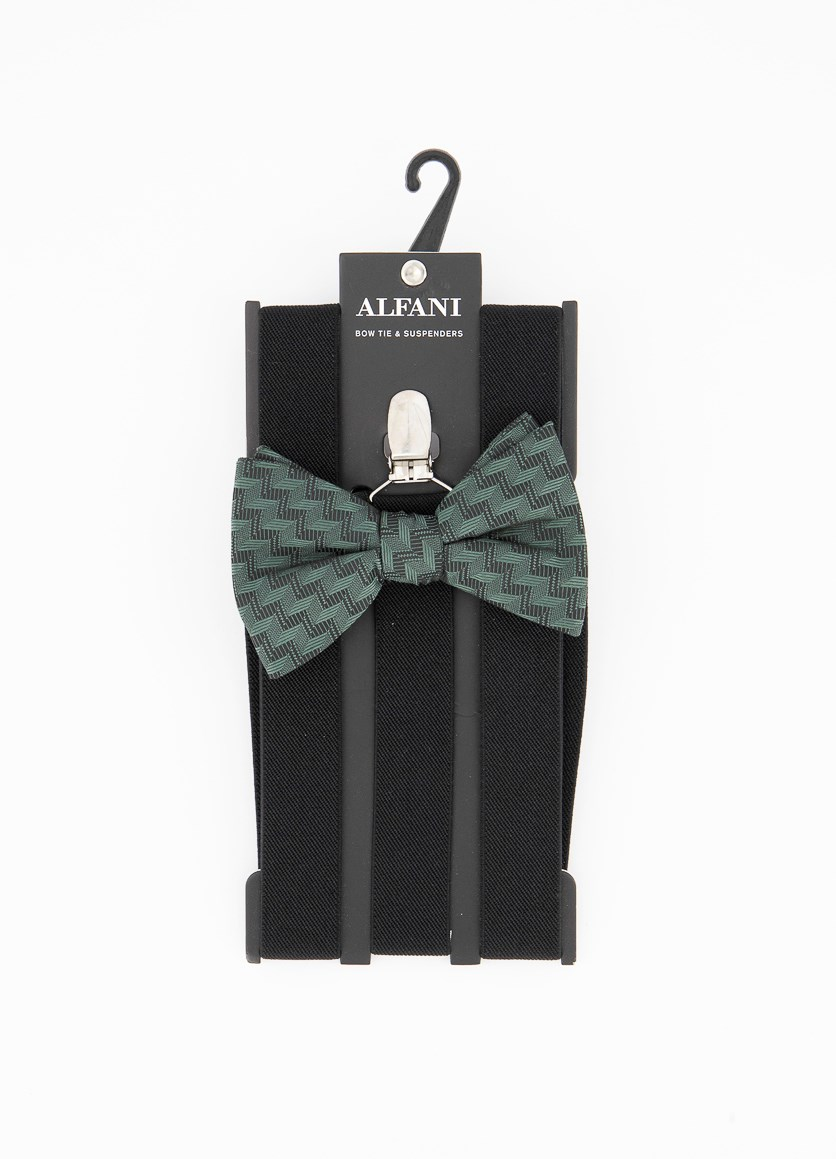 Men's Errol Chevron Stripe Bow Tie & Suspenders Set, Green/Black