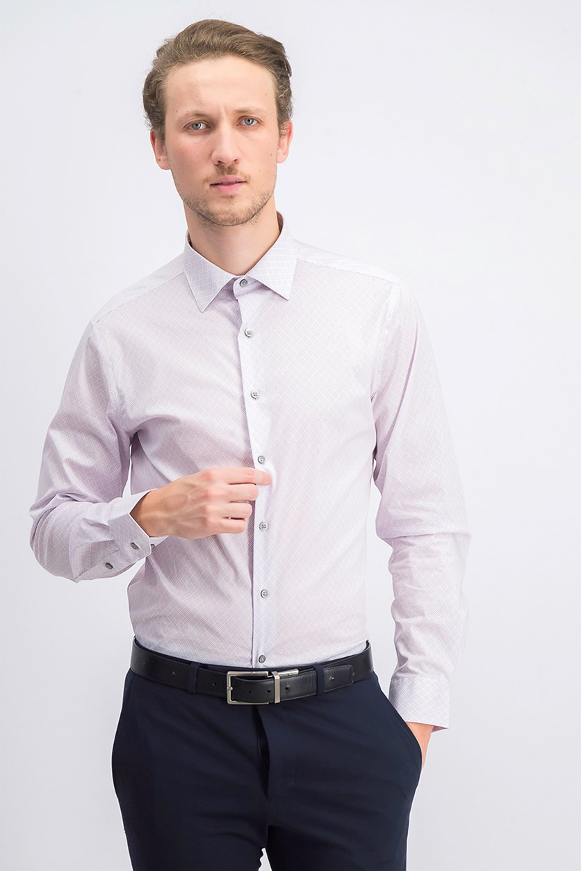 Men's Easy-Care Dress Shirts, White/Purple