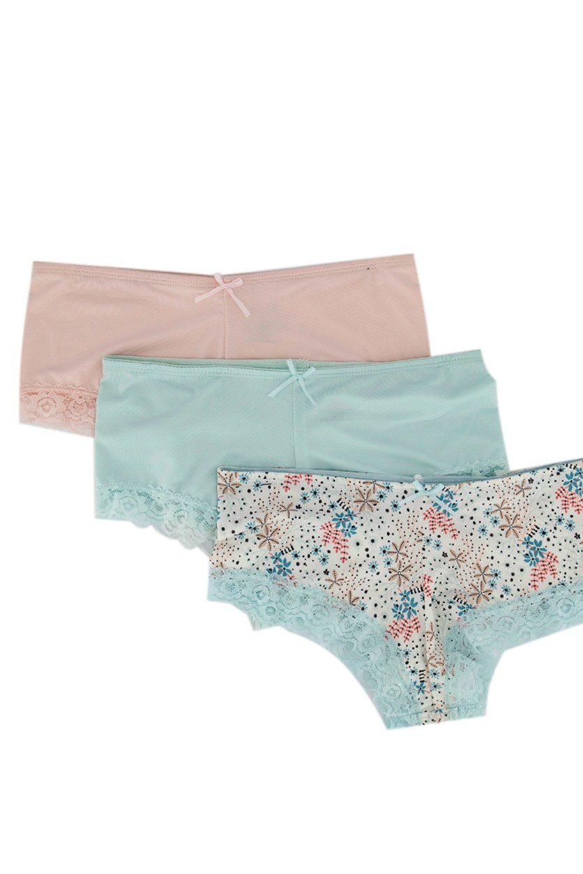 Women's 3 Pck Hipster Panty With Lace, Pink/White/Turquoise