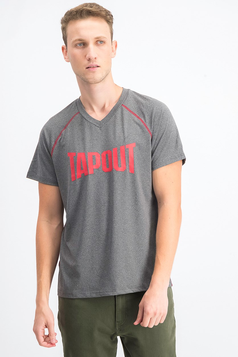Men's Graphic Printed V-Neck T-Shirt, Charcoal Heather