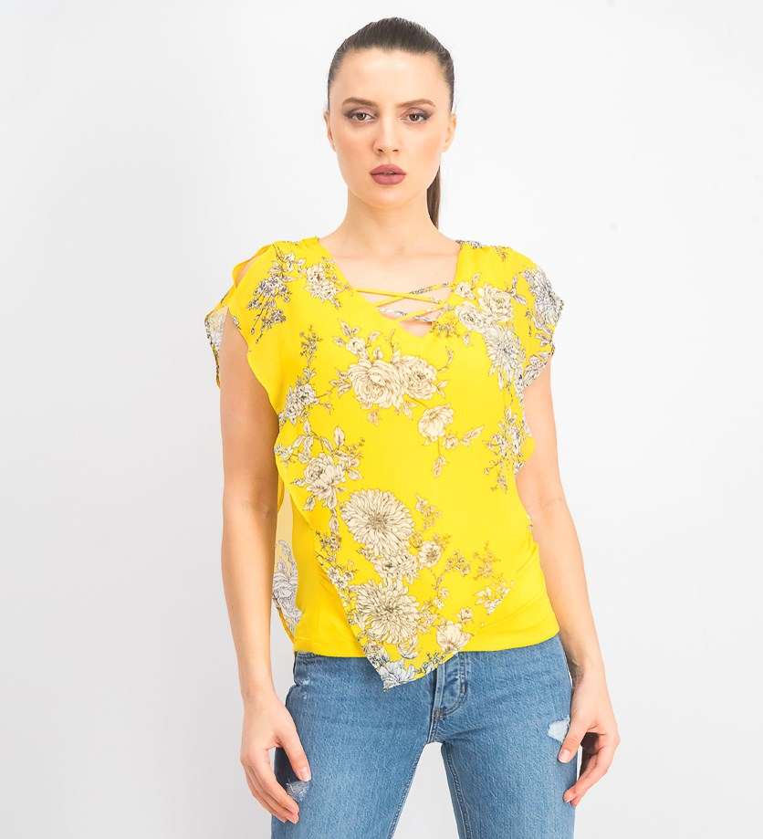 Juniors' Printed Flutter-Sleeve Poncho Top, Yellow