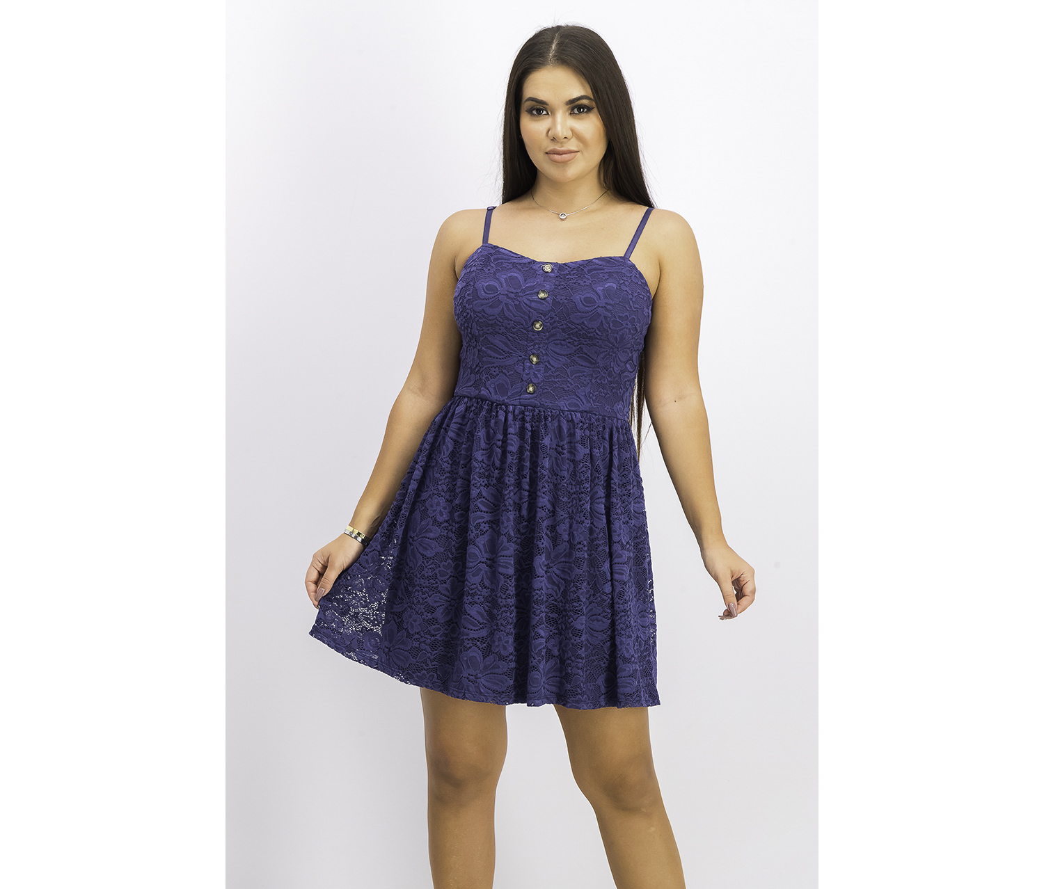 Juniors' Button-Front Lace Fit & Flare Dress, Navy