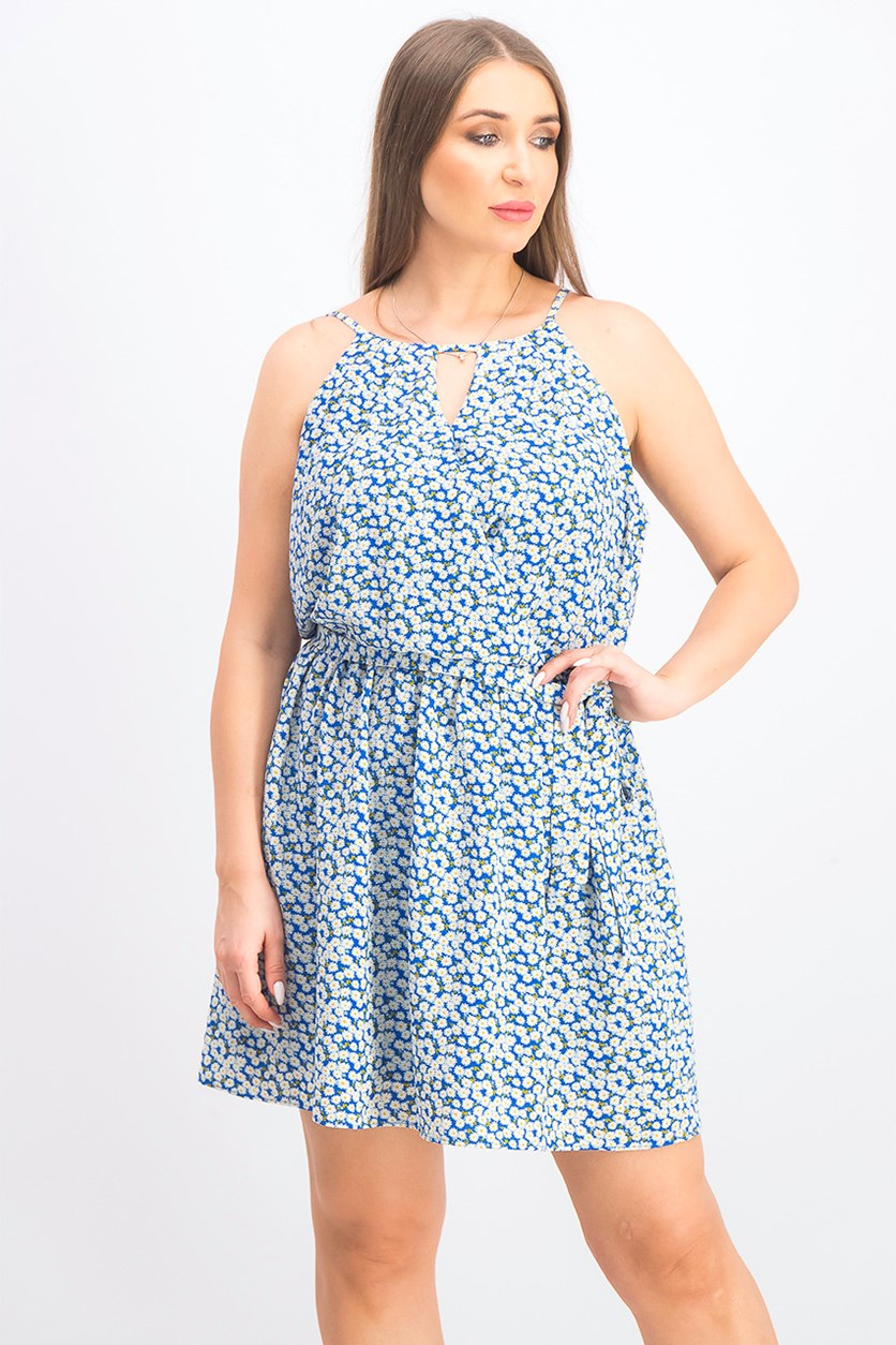 Juniors' Printed Halter-Neck Fit & Flare Dress, Blue Combo