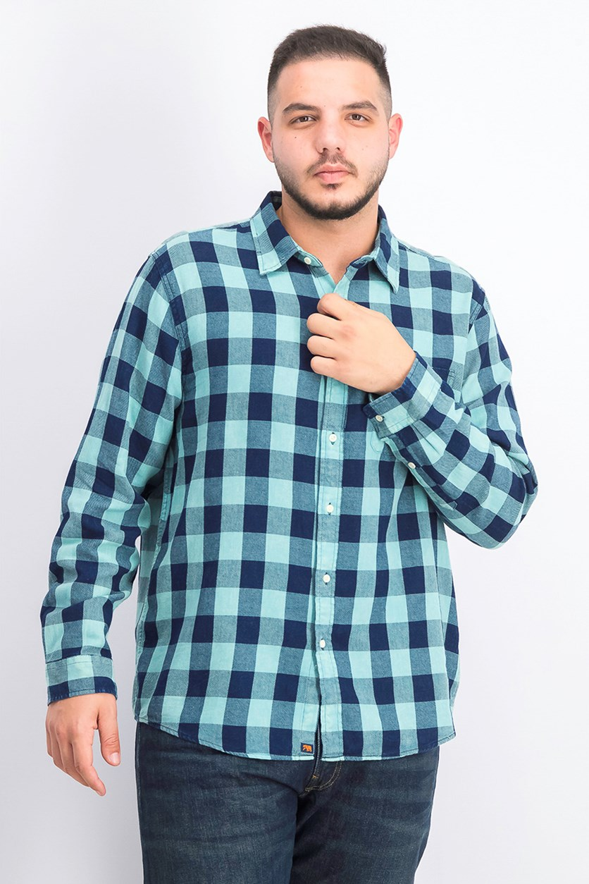 Men's Buffalo Twill Shirt, Navy/Aqua