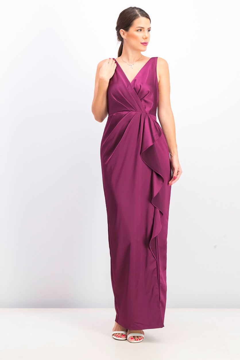Women's Long Surplice Dress Ruffle Dress, Purple