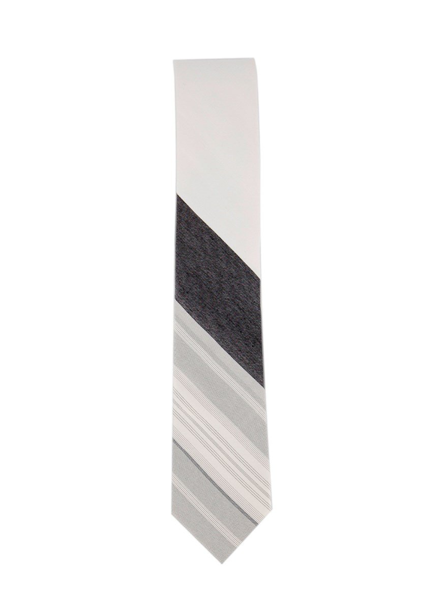 Men's Stripe Tie, White/Black