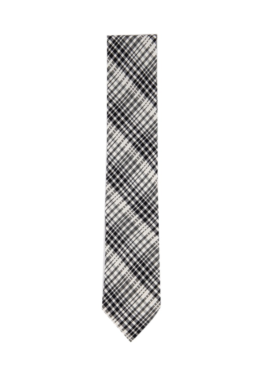 Men's Diagonal Plaid Slim Neck Tie, Black/White