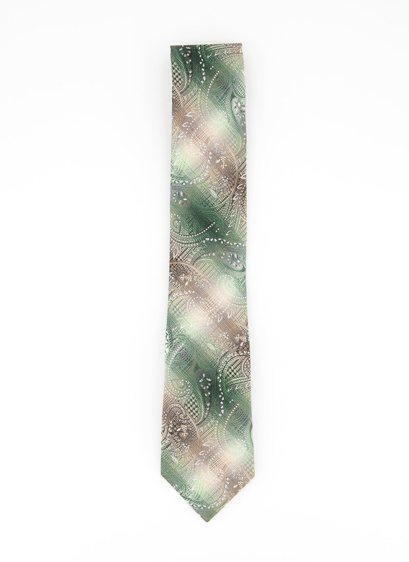 Men's Classic Plaid Paisley Tie, Green Combo