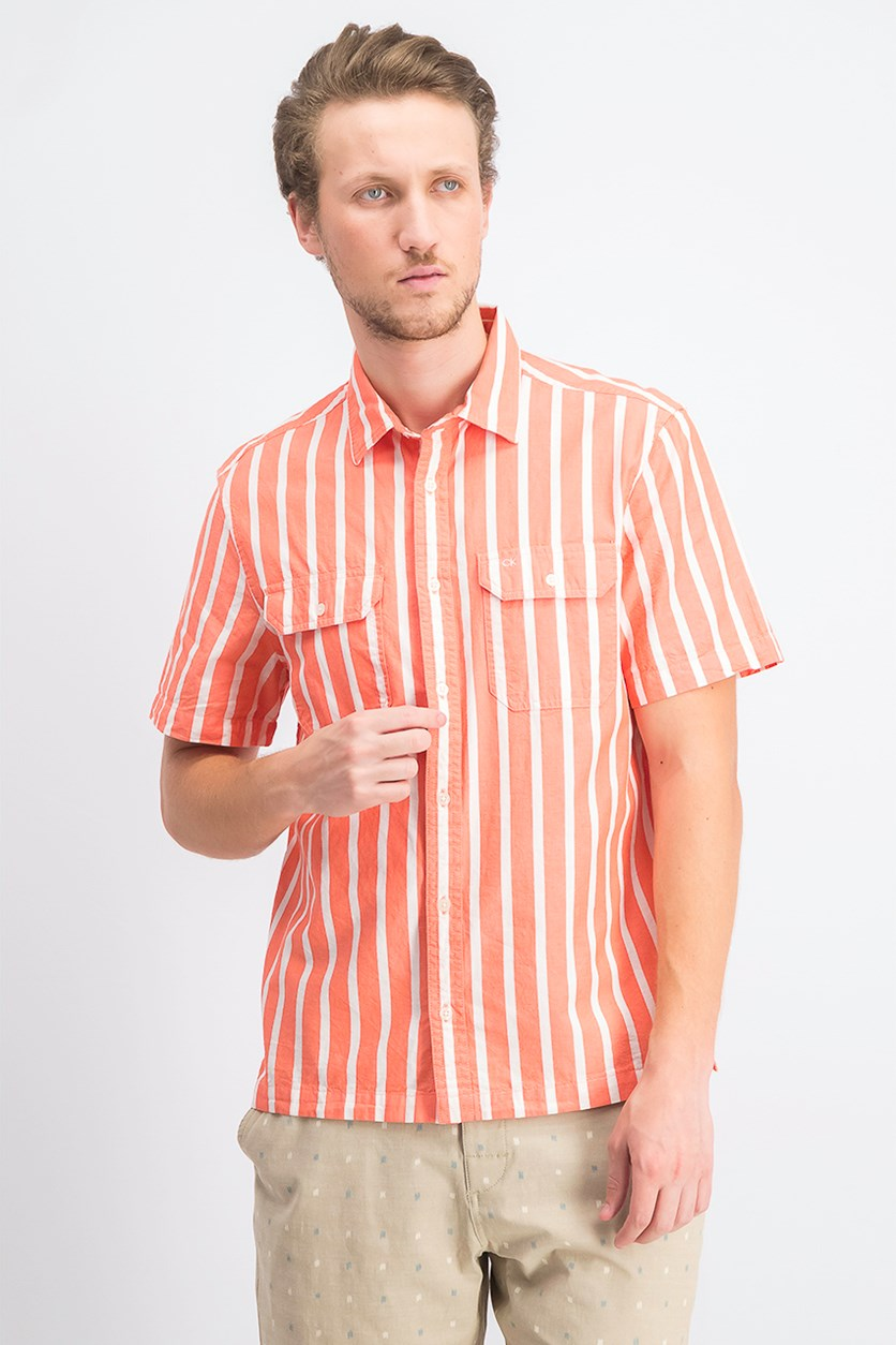 Men's Stripe Shirt, Coral