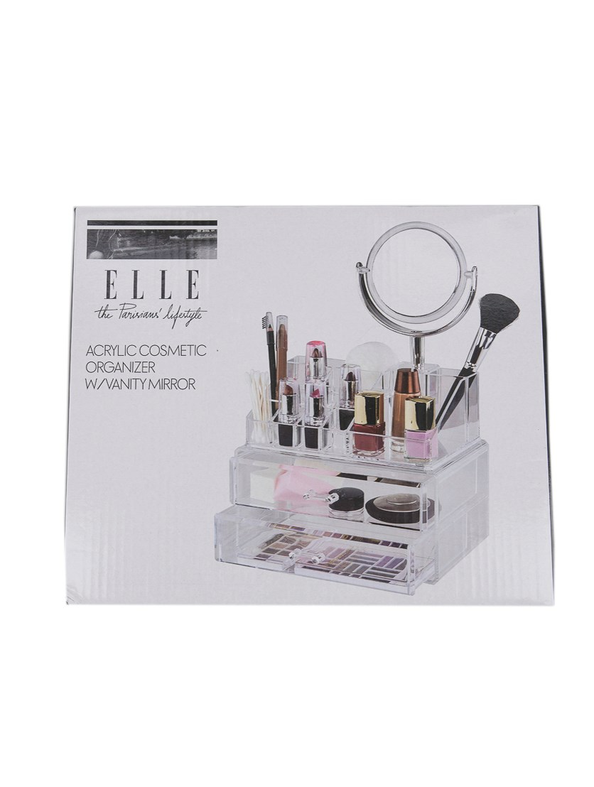 Cosmetic Organizer With Vanity Mirror, Transparent