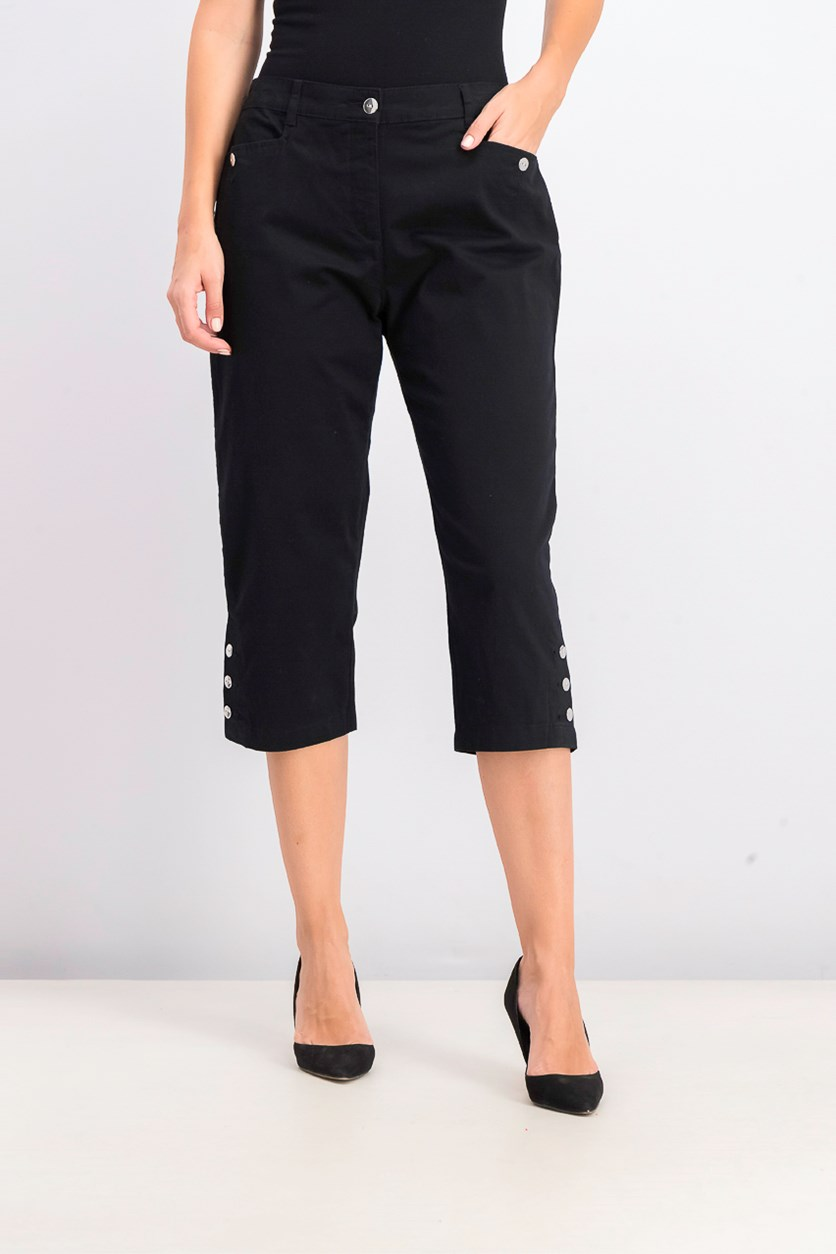 Women's Button-Hem Capri Pants, Deep Black