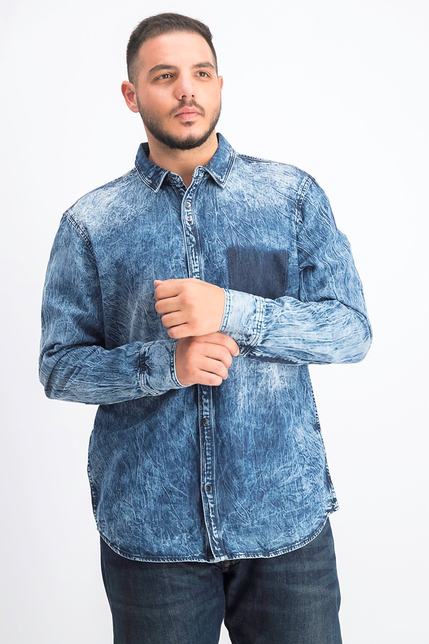 Men's Shadow Pocket Distressed Shirt, Medium Wash