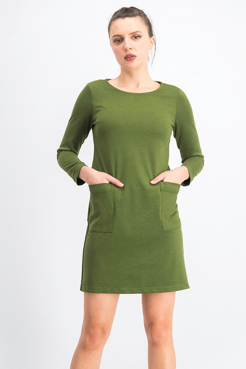 Women's  Petite Patch-Pocket Shift Dress, Olive