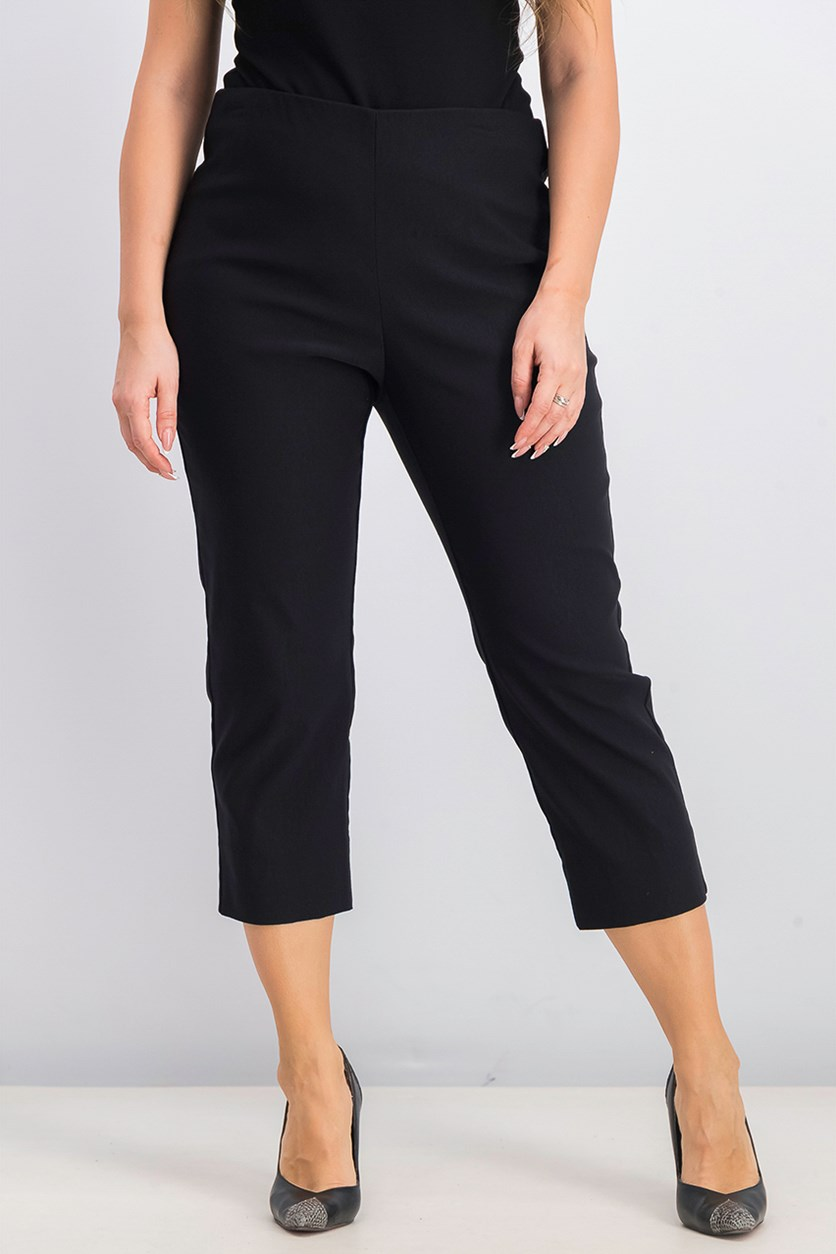 Women's Pull-On Tummy-Control Capris, Deep Black