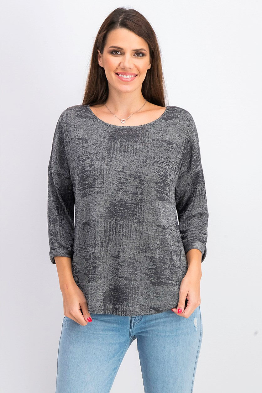 Women's 3/4 Sleeve Jewel Neck Hi-Lo Top, Gun Metal