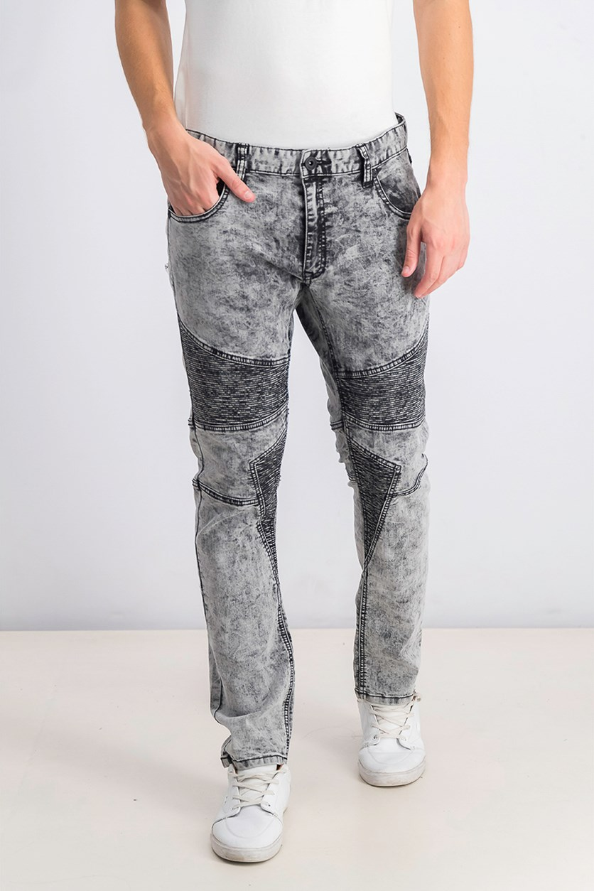 Men's Moto Skinny Jeans, Off-White/Grey