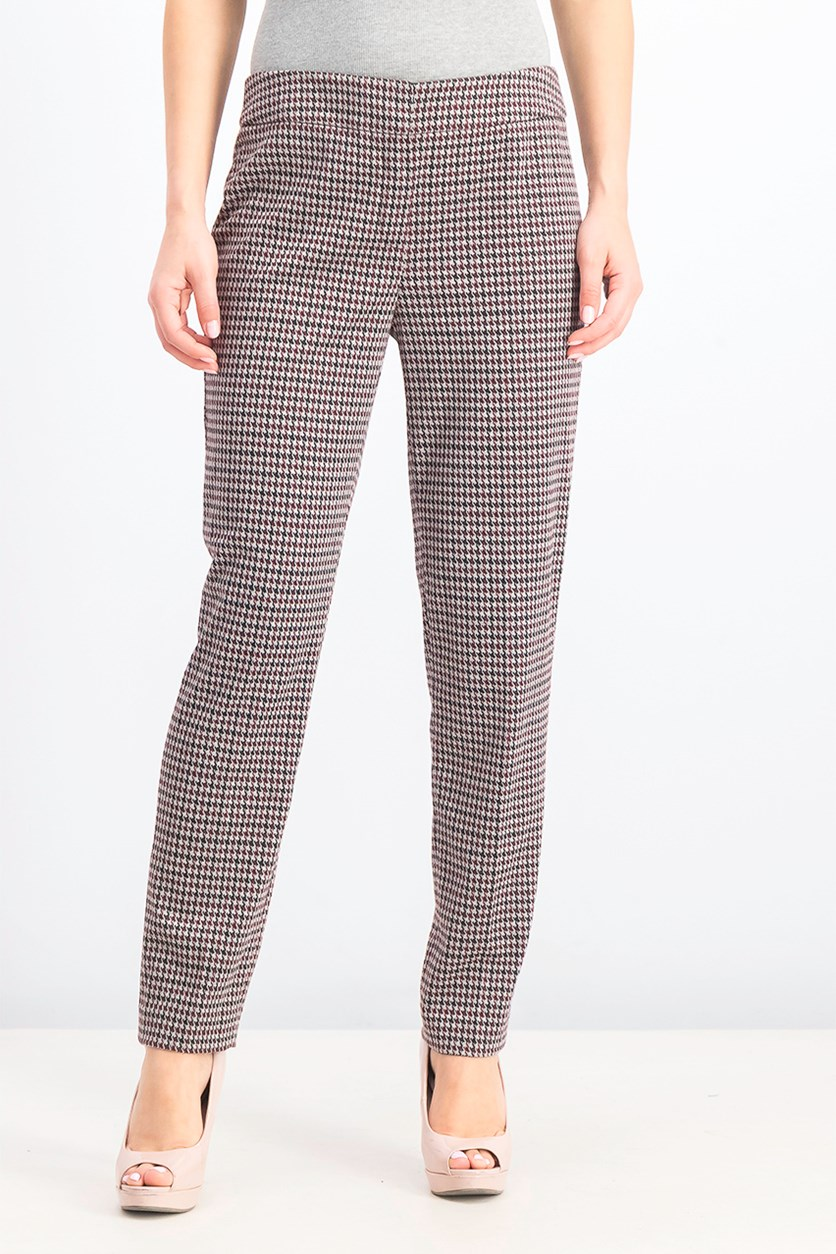 Women's Houndstooth Tapered Pants, Port/Black/Grey