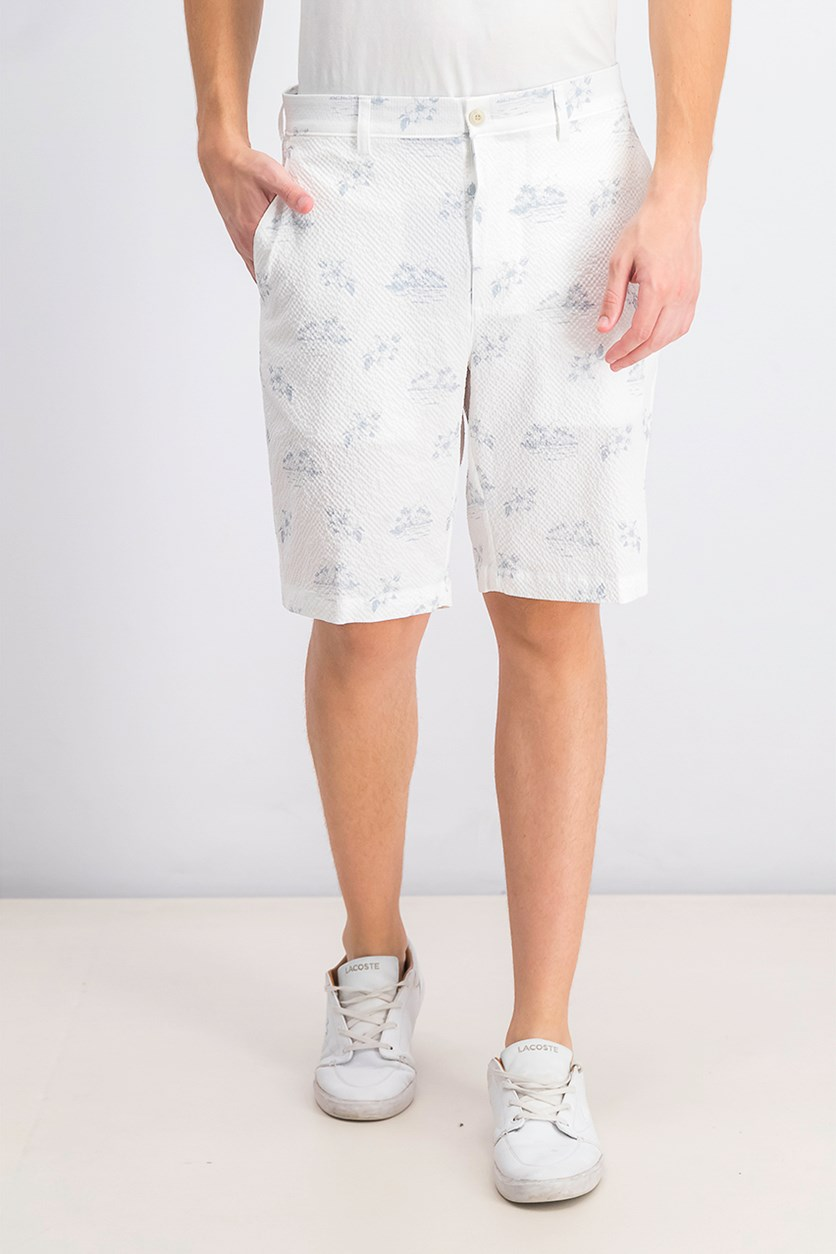 Men's Printed Flat-Front Shorts, Bright White