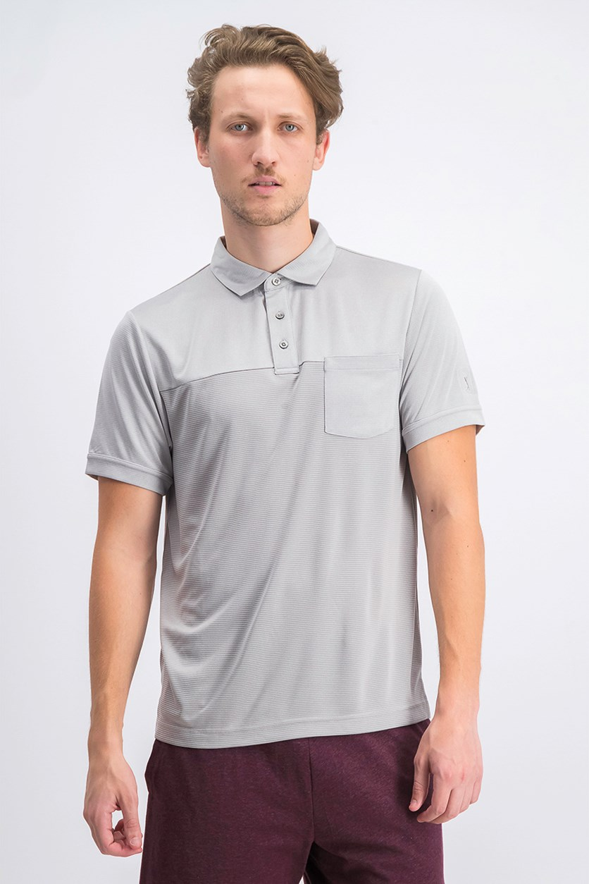 Men's Texturized End-on-End Pocket Polo, Light Gray Heather