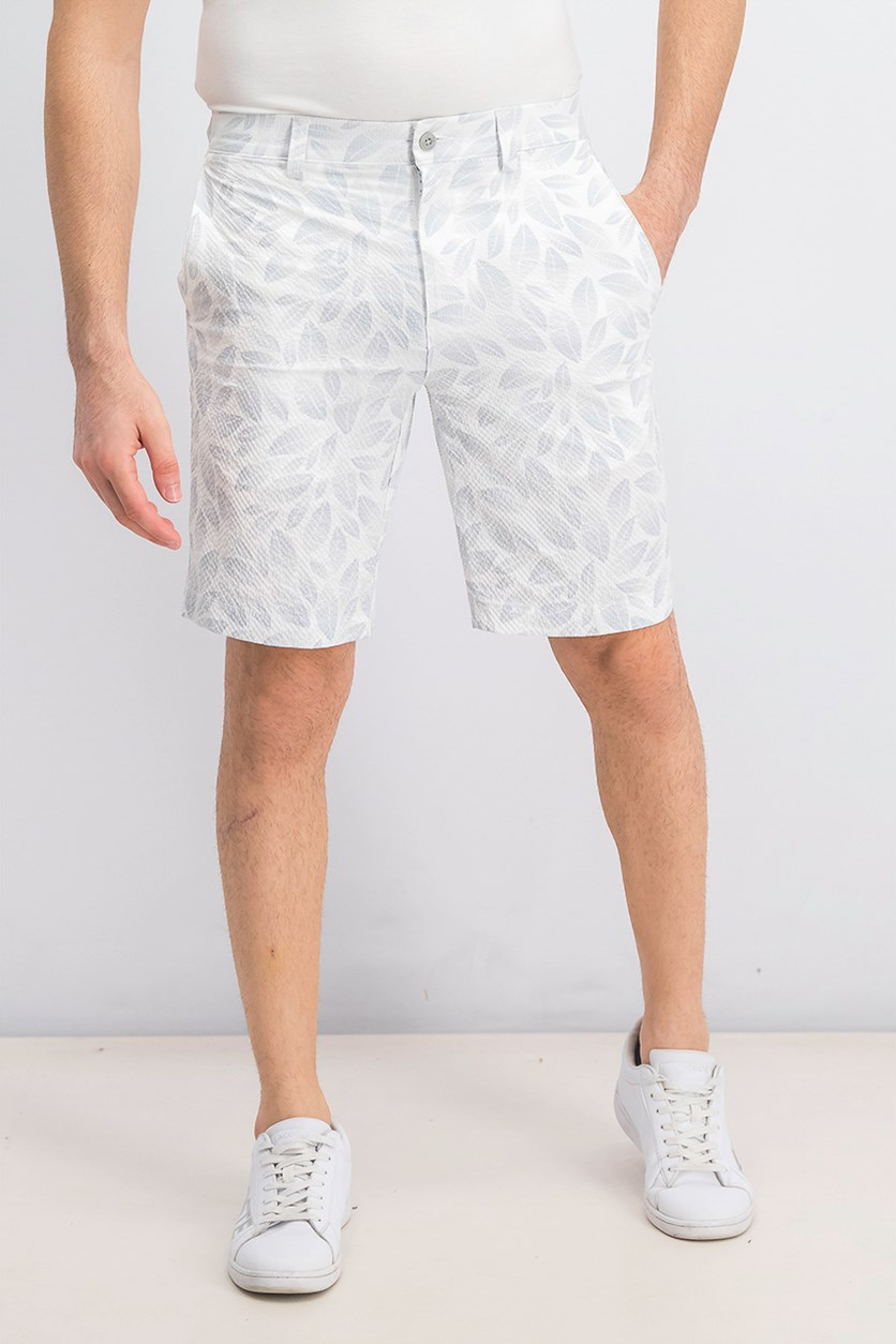 Men's Printed Golf Shorts, Bright White