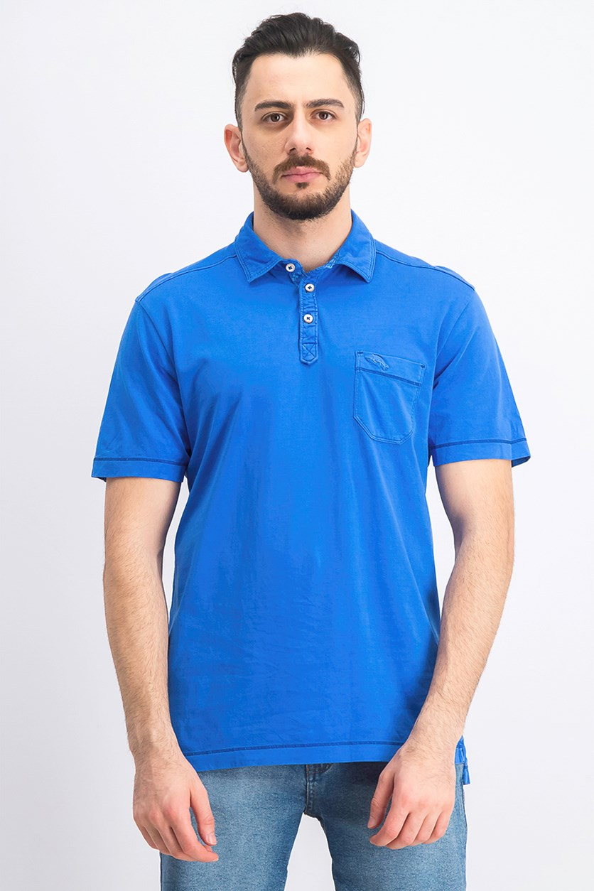 Men's Pigment-Dyed Pima Cotton Polo, Blue