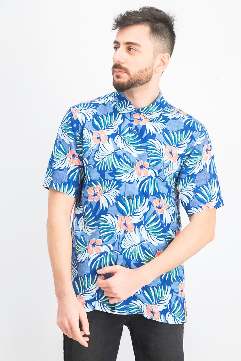 Men's Marina Hawaiian Shirt, Madras Blue
