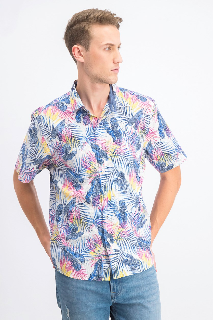 Men's Pavia Palms Casual Shirt, White/Blue