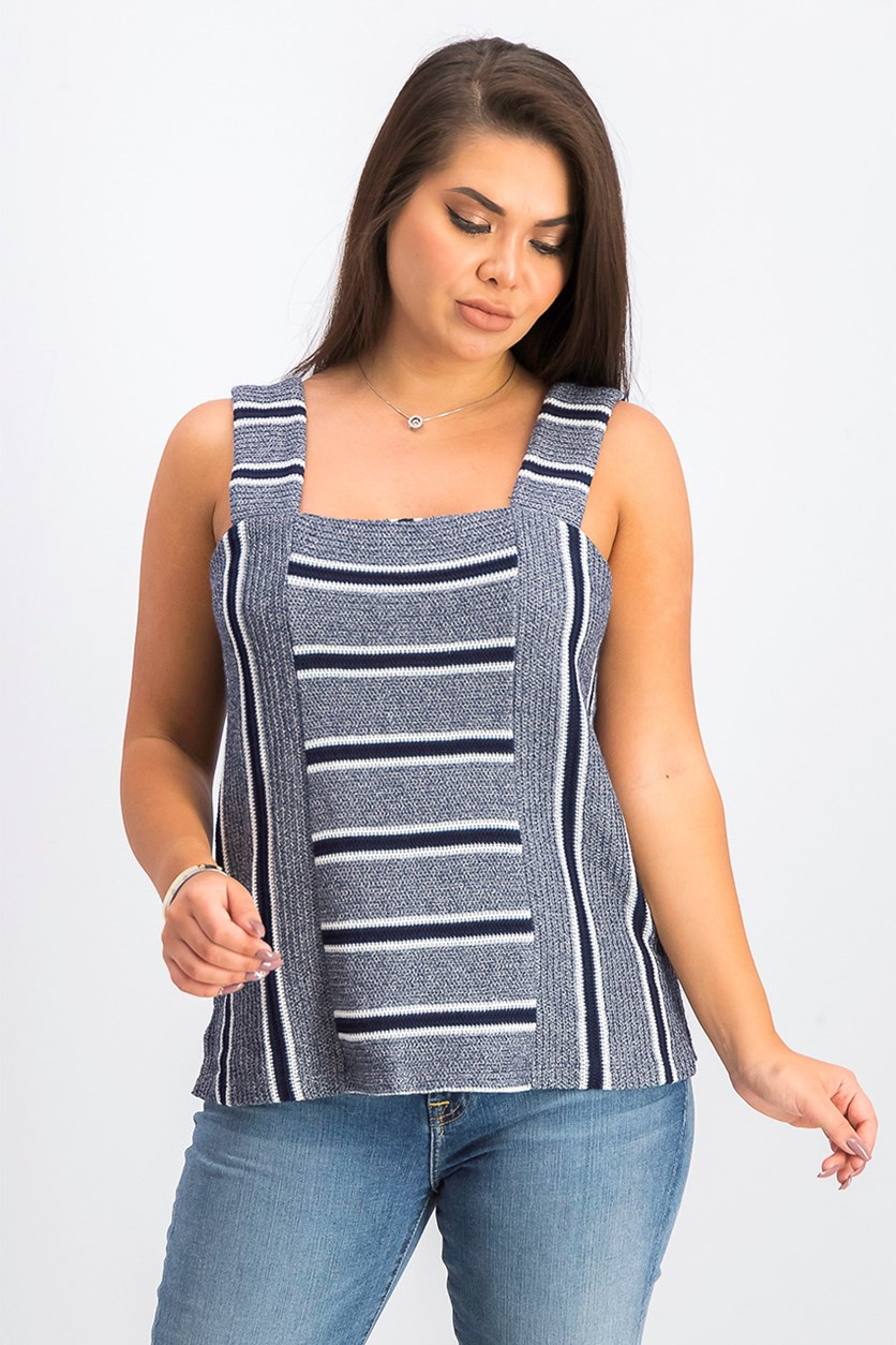 Women's Striped Square-Neck Top, Classic Navy