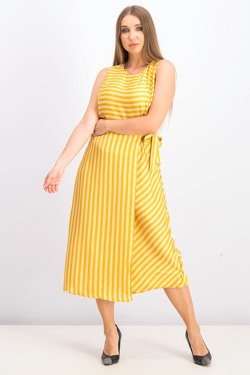 Women's Bay Stripe Side Tie Midi Dress,  Amber Sun