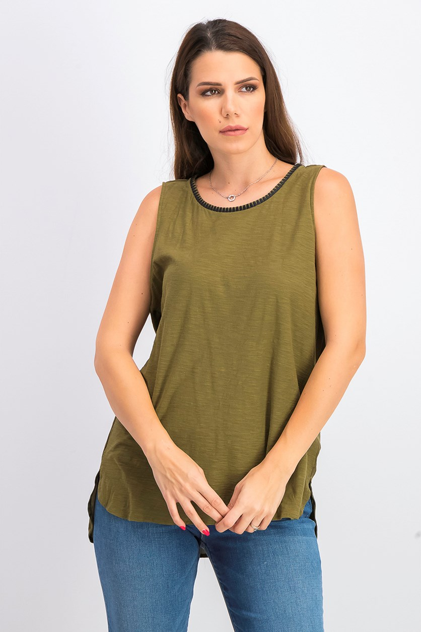 Women's Embroidered Mixed-Media Top, Green Oasis